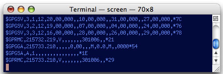 GNU Screen GPS Data