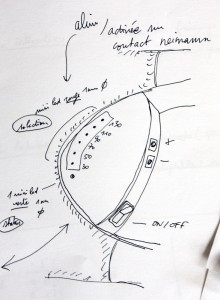 Steering wheel housing sketch