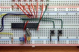 Connection of push-button switches to the ATMEGA168
