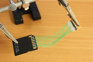 SD card adapter soldered to pin header