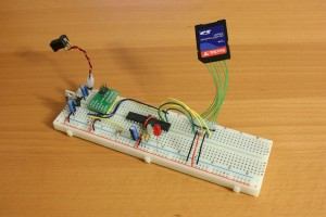 SD card and ATMEGA168 test circuit on breadboard