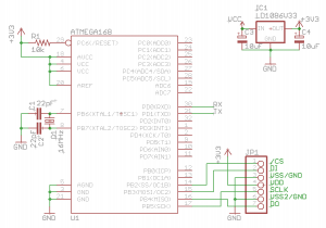 ATMEGA168 and SD card test circuit schematic