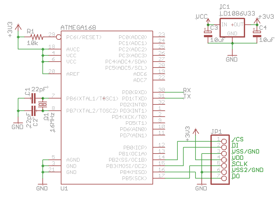 SD Card Schematic http://elasticsheep.com/2010/01/reading-an-sd-card-with-an-atmega168/